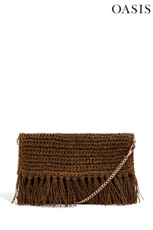 Oasis Green Pru Straw Clutch