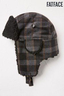 FatFace Grey Checked Trapper Hat