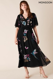 Monsoon Black Perrie Embroidered Midi Dress