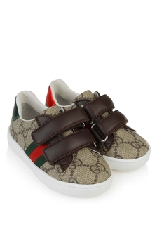 GUCCI Kids Beige/Brown GG Supreme Trainers