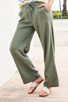 Spodnie lniane z szeroką nogawką