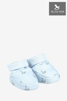 The Little Tailor Jersey Baby Booties In Blue