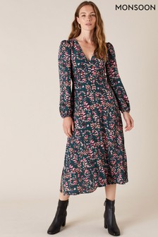 Monsoon Green Feather Print Sustainable Tea Dress