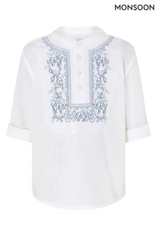 Monsoon Blue Kurta Embroidered Shirt In Pure Cotton