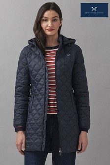 Crew Clothing Company Blue Lightweight Cross Hatch Coat