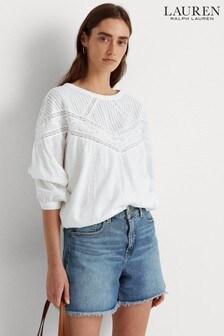 Lauren Ralph Lauren® White Shoulder Detail Folke Blouse