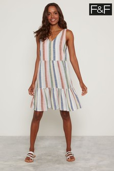 F&F Multi V-Neck Stripe Tier Dress