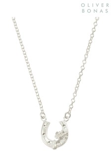 Oliver Bonas Sterling Silver Lucky Horse Shoe Pendant Necklace