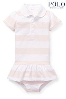 Ralph Lauren White And Pink Stripe Rugby Dress