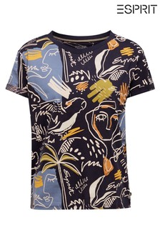 Esprit Blue Short Sleeved Printed T-Shirt