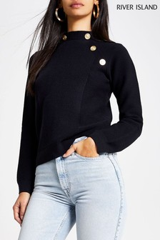 River Island Navy Turtle Neck Connoley Jumper