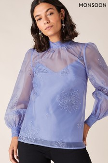 Monsoon Blue Aubree Embroidered Organza Blouse