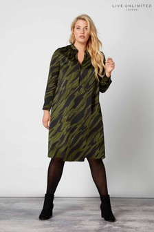Live Unlimited Black Camo Printed Dress