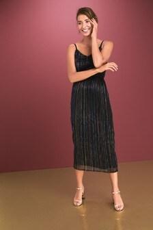 Plissé Midi Dress