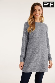 F&F Grey Miiko Embellished Shoulder Tunic