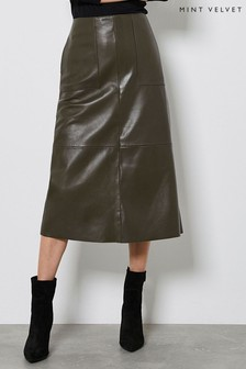 Mint Velvet Khaki Leather Midi Skirt
