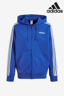adidas Essentials 3 Stripe Fleece Zip Through Hoody