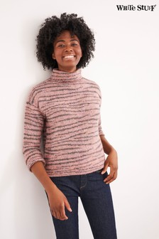 White Stuff Purple Animal Stripe Jumper