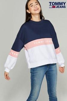 Tommy Jeans Blue Colourblock Branded Sweatshirt