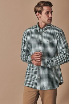 Crew Clothing Company Green Long Sleeve Slim Gingham Flannel Shirt