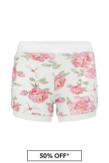 Baby Girls White Cotton Shorts