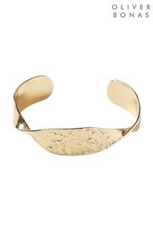 Oliver Bonas Gold Sculptural Twist Gold Plated Cuff Bangle