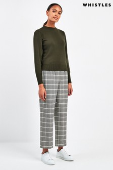 Whistles Grey Houndstooth Check Trousers