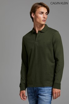 Calvin Klein Green Liquid Touch Long Sleeve Polo