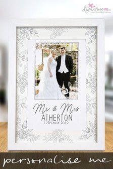 Personalised Floral Wedding A4 Framed Print by Signature PG