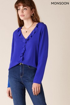Monsoon Blue Ruffle Sustainable Long Sleeve Top