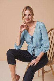 Блузка из материала TENCEL™ с завязками спереди