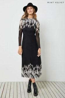 Mint Velvet Ava Print Mesh Midi Dress