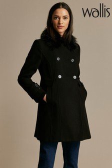 Wallis Petite Black Fur Faux Wool Coat