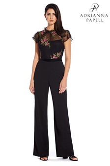 Adrianna Papell Black Rose Embroidery Jumpsuit