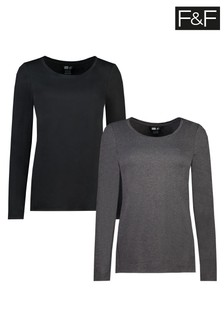 F&F Soft Touch Black/Grey T-Shirts Two Pack