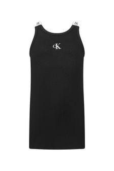 Calvin Klein Jeans Girls Black Cotton Dress