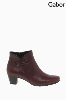 Gabor Keegan Dark Red Leather Fashion Ankle Boots