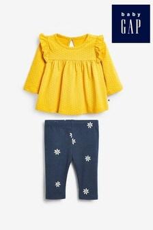 Gap Baby Yellow Top And Daisy Print Leggings Set