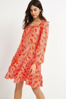 Tiered Long Sleeve Dress