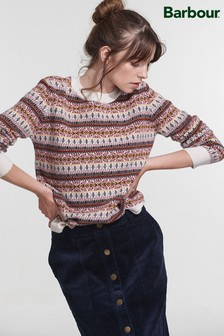 Barbour® Coastal Cream Pink Fairisle Pattern Peak Jumper
