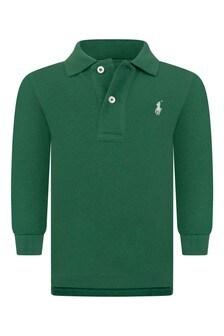 Baby Boys Green Cotton Long Sleeve Polo Top
