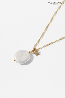 Accessorize Gold Gold-Plated Freshwater Pearl Celestial Necklace