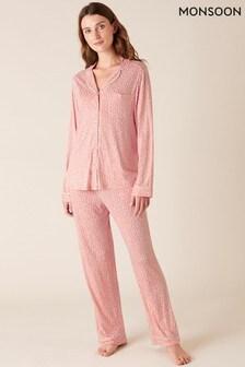 Monsoon Pink Polka Dot Print Pyjama Set