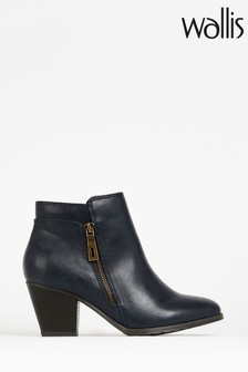 Wallis Arabella Navy Side Zip Ankle Boots