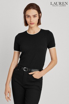 Lauren Ralph Lauren® Black Taburka Short Sleeve Jumper