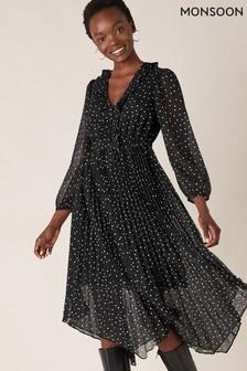 Monsoon Black Spot Print Pleated Dress