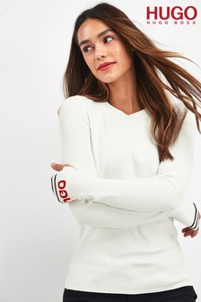 HUGO Natural Sloggy Logo Cuff Jumper