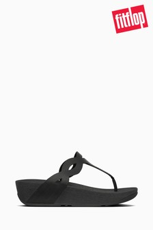 FitFlop™ Black Eva Interlace Toe Thong Sandals