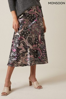 Monsoon Black Paisley Print Satin Skirt