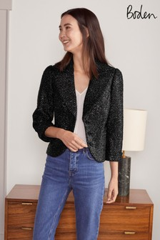 Boden Black Imelda Sequin Jacket